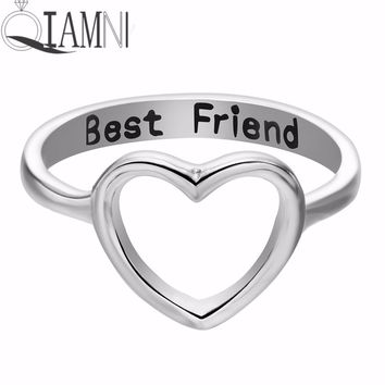 QIAMNI Women Heart Love Best Friend Star Tree Compass Eagle DNA Feet Leaf Dog Skull Ring Gift Friendship Birthday Gift Jewelry