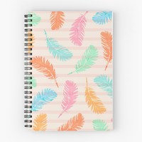 'Dancing summer feathers' Spiral Notebook by juliagrifol