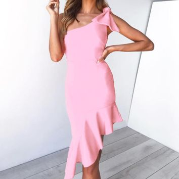 Fashion New Solid Color Sleeveless Dress Women Pink