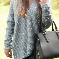 Gray V-Neck Dotted Long Sleeve Rough Knitted Sweater