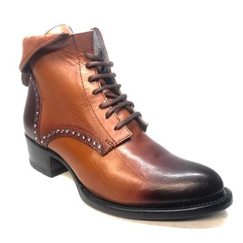 Denver Mountain Co. Ladies Crystal Leather Mocha Ankle Boots