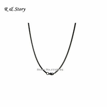 Black 316L Stainless Steel Chains for Floating Lockets Jewelry LFH_040