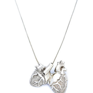 White Bronze Anatomical Heart Locket