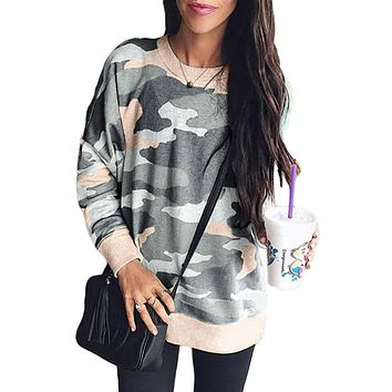 Fashion Khaki Green Digital Camo Print Sweatshirt
