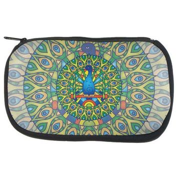 CREYCY8 Mandala Trippy Stained Glass Peacock Makeup Bag