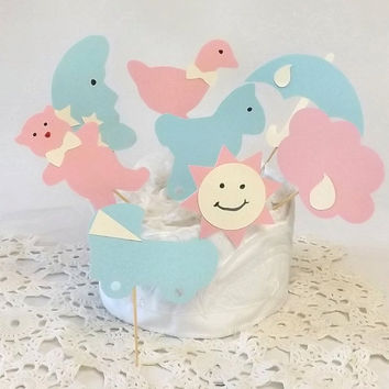 24 Baby Shower Cupcake Toppers, 8 Nursery Room Themed Shapes, Boy & Girl, Pink Blue and Yellow