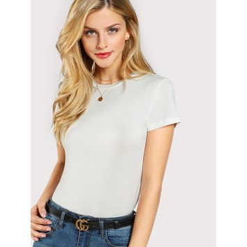 Solid Form Fitted T-shirt White