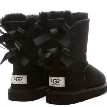 UGG:: bow leather boots boots in tube