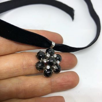 Vintage Rhodium 925 Sterling Silver crystal and Black Star of India Pendant Necklace
