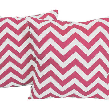 Set of 2 Pink Chevron Pillows - Cotton Covers and/or Cushions - 14x14, 16x16, 18x18, 20x20