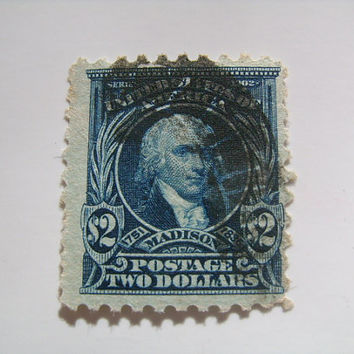 Collectible 1917 United States Postage 2 Dollar Used Stamp with Image of 4th US President James Madison Scott # 479 Collect Postal History