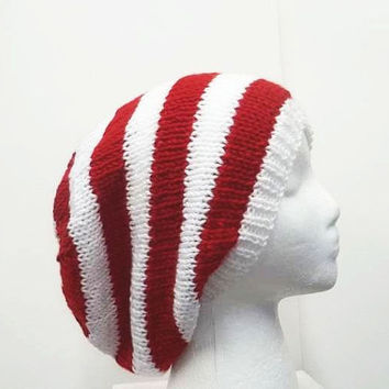 Red white stripe slouch hat, knitted, large size  5181