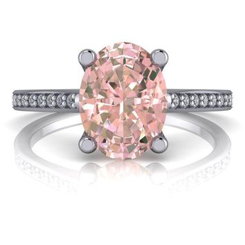 Oval Morganite Solitaire Diamond Engagement Ring 1.11 ctw