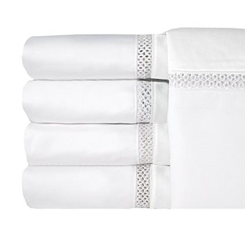 Veratex Duet Collection 800 Thread Count 100% Egyptian Cotton Sateen Bed Sheet Set With Elegant Stitch Design Hem, King, White