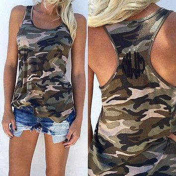 Army green slim Tank Top
