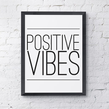 """Typography Poster """"Positive Vibes"""" Quote Motivational Inspirational Happy Print Wall Home Decor"""
