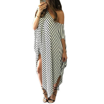 Womens 2016 Spring Summer Long Maxi Dress Elegant Vintage Short Sleeve Casual Party Bodycon Dresses Black White Striped Clubwear