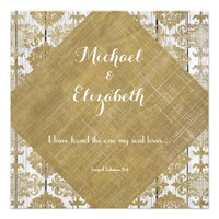 Vintage Gold Damask and Wood with Bible Verse