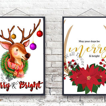 Merry and Bright | Deer antler | Poinsettia | Christmas decor | Quote | Art Print | Typography | Home Decor Print | Printable