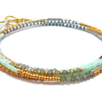 Seed bead wrap bracelet, multi strand beaded bracelet, layering necklace, boho, bohemian, stackable, anklet, labradorite, mint gold and blue