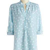 ModCloth Pastel Long Long Sleeve Hosting for the Weekend Tunic in Sky