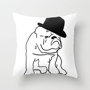 Classy Bulldog Throw Pillow by PoseManikin