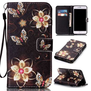 For iPhone 7 Plus 5S 6S 5 6 S SE Luxury Art Print Wallet Leather Flip Case For Coque Apple iPhone 7 Plus With Card Slots