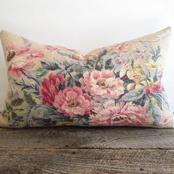 Lumbar Pillow Cover Barkcloth Shabby Floral Bouquet 12 x 20