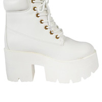 Platform Under Construction Boots - White