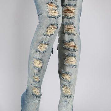 Privileged Distressed Denim Stiletto Over-The-Knee Boots