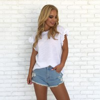 Cotton Cutie Ruffle Top in White