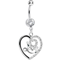 Crystalline Gem Gleaming Love Heart Dangle Belly Ring | Body Candy Body Jewelry
