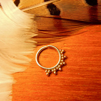 Sadhya. An Indian tribal gold septum ring. Belly button ring. Nose ring. Handmade with love.