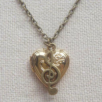 Brass heart locket necklace with musical note