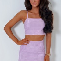 Clueless Sugar Lilac Bralet Crop Top | Pink Boutique