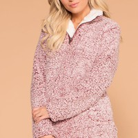 Snowstorm Wine Sherpa Pullover Jacket Top