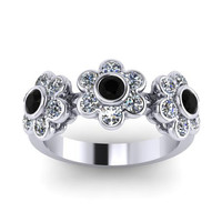 Black and White Diamond Band Flower Design Band 14K White Gold Flower Ring - V1084