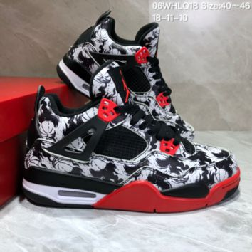 KUYOU N820 Nike Air Jordan 4 Bred AJ4 Sport Basketball Boots Black White Red