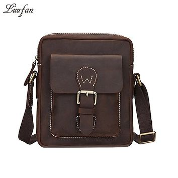 Men's crazy horse leather messenger bag vintage Cow leather shoulder bags small casual crossbody bag Cowhide handbags