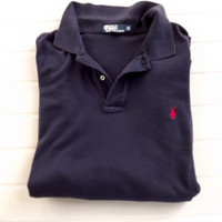 Big Mens Polo Golf Shirt, Ralph Lauren Designer Black Cotton Preppy Sports Shirt, Size XXL, 2XL