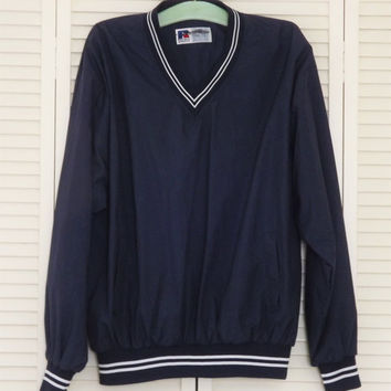 Vintage Russell Athletic Sweatshirt, Navy Blue V neck Jacket, Mens Water Repellant Sports Shirt, Gym Windbreaker, Size XL
