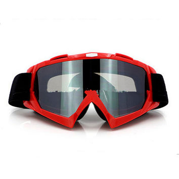 Adult Colourful double Lens Snow Ski Snowboard Goggles Motocross Anti-Fog Fashion Eye Protection Red Silver