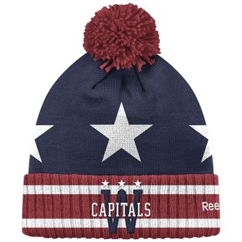 Mens Washington Capitals Reebok Navy Blue 2015 Winter Classic Goalie Cuffed Knit Hat