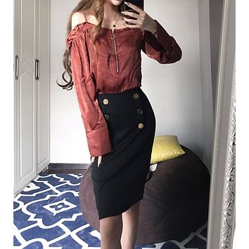 Women Fashion Off Shoulder Strap Long Sleeve Shirt High Waist Bodycon Skirt Set Two-Piece