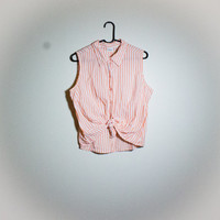 Vintage Vertical Striped Sleeveless Button Up! Womens Size Small