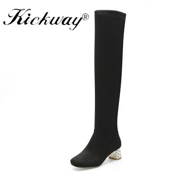 Kickway FauxSuede Women Boots Shoes Winter Knee High Boots Sexy Stretch Over The Knee High Boots Black Slim Fit Thigh High Heels