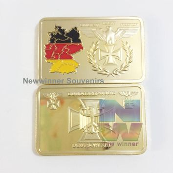 German cross eagle bullion bar Replica Gold Bar Germany Color Map Bundesrepublik 24K Gold Bar Coin 2016 New Arrivals Metal coins