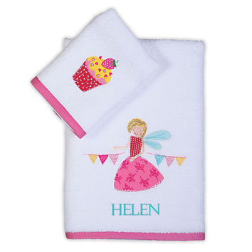 Personalized baby towels- 100% terry cotton 2 pcs set with name and Fairy Princess applique embroidery- toddler towel set-baby shower  gift