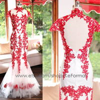 Mermaid Red Lace Prom Dress, Long Lace Evening Dresses WithOpen Back, Mermaid Lace Red Formal Dress