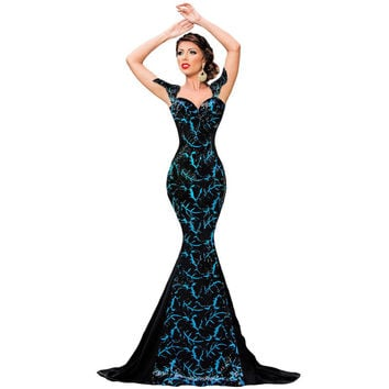 2016 New Arrivals Sequin Dress Sexy Summer Embellishment Square Collar Party Dresses Elegant Mermaid Gown 60844